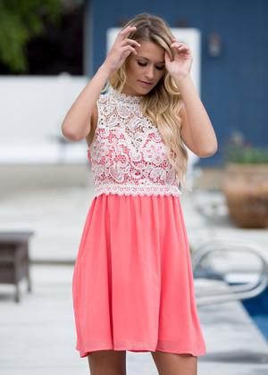 One Chance to Make Me Blush Lace Tank Dress