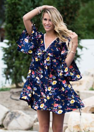 Navy Floral Belle Sleeve Dress