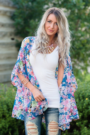 Bright Sheer Floral Kimono Blue CLEARANCE