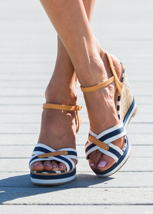 A Nautical Affair Wedges Navy/White CLEARANCE