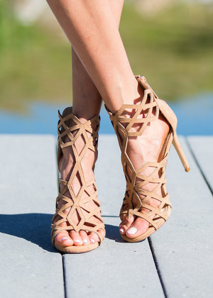 Laser Angle Heels Camel CLEARANCE
