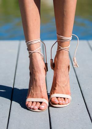 Frisky Ballet Tie Heels Nude CLEARANCE