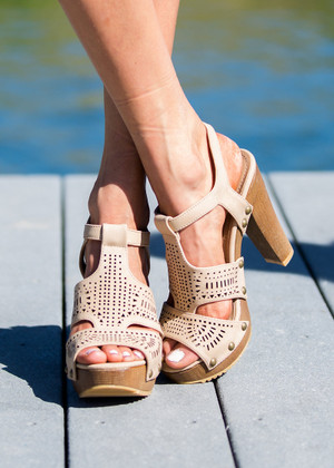 Anything Goes Laser Cut Wedges Nude CLEARANCE