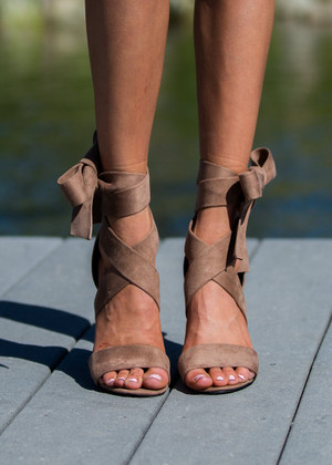 Wrapped Around My Finger Madden Suede Tie Heels Taupe