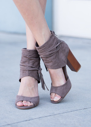 No Alibi Thick Strap Heels Taupe