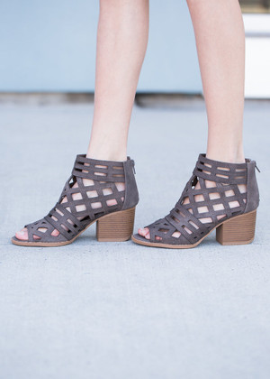 At My Core Laser Cut Out Booties Taupe CLEARANCE