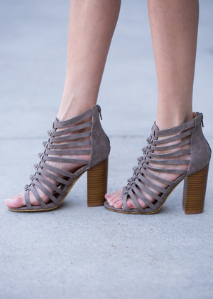 Got My Heart in a Knot Heels Gray CLEARANCE