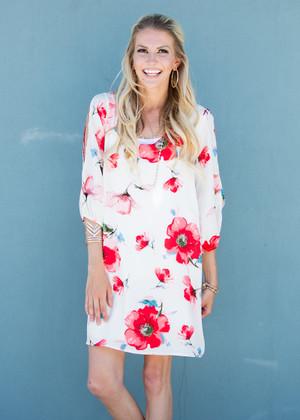 Floral Open Shoulder Dress White