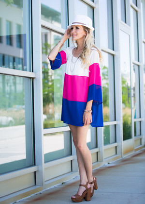 Time for Tea Color Block Dress Royal CLEARANCE