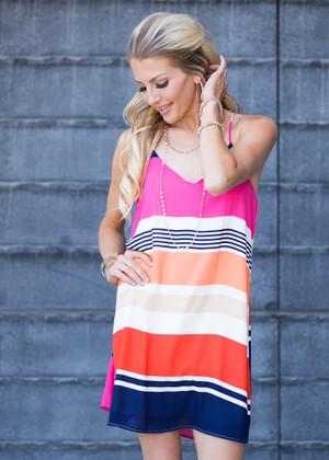 When You're Around Stripe Dress Pink