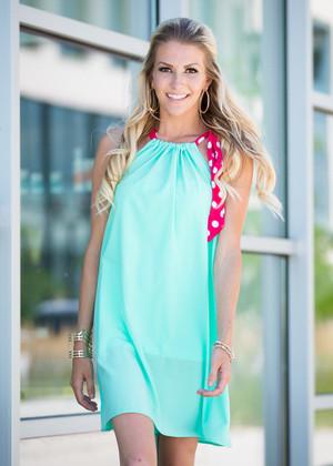 Debonair Tie Dress Mint CLEARANCE