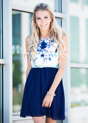 Love For Life Floral Tank Dress Ivory/Blue