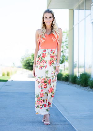 Neon Floral Maxi Dress Coral/Ivory