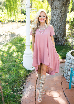 Pretty and Soft High Low Dress Mauve CLEARANCE