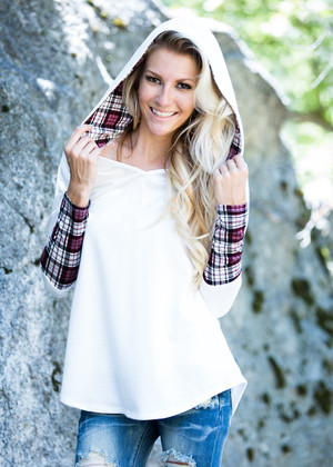 A Touch of Plaid Hoodie Ivory