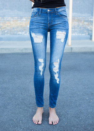 Distressed Medium Wash Ankle Skinny Jeans