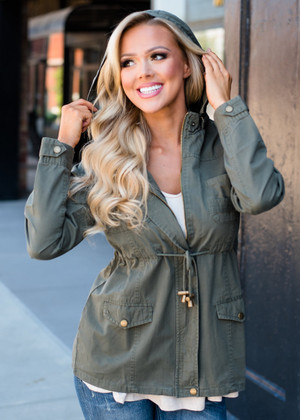 Gorgeous Grunge Hooded Cinched Jacket Olive