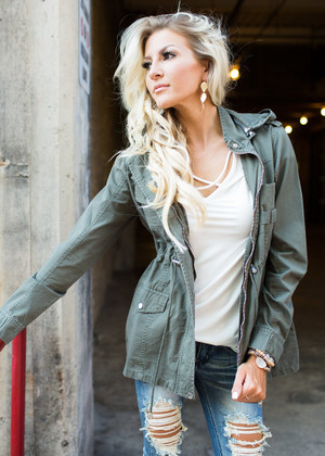Gorgeous Grunge Hooded Cinched Jacket Olive CLEARANCE