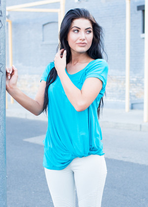 Just Around the Corner Twist Top Turquoise CLEARANCE