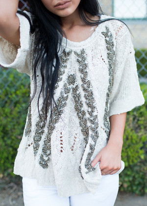 Woven in My Heart Sweater Cream CLEARANCE