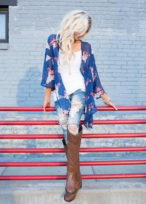 Texas Heartbeat Chiffon Kimono Blue CLEARANCE