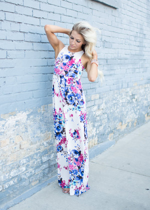 Crushing on You Floral Tank Maxi Ivory