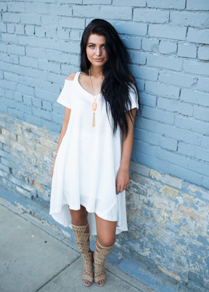 Pretty and Soft High Low Dress Off White