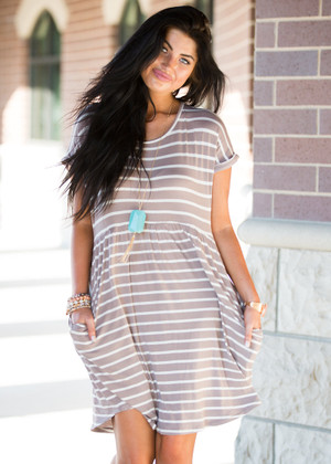 """It Has Pockets!"" Mocha Striped Dress"