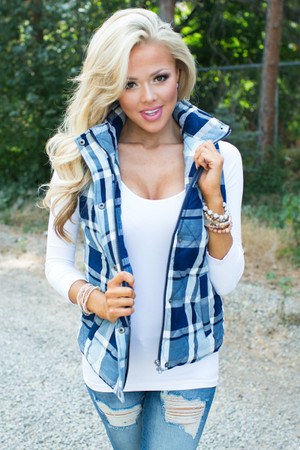 Take Me On A Journey Plaid Vest CLEARANCE