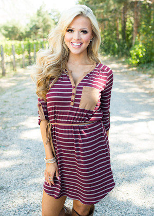Stripes and a Some Suede Action Dress Burgundy
