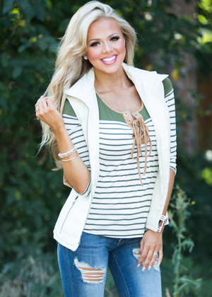 Charm Me with a Smile Puffer  Vest Ivory CLEARANCE