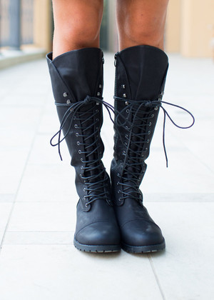 Black Tie Combat Boots CLEARANCE