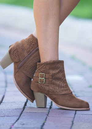 The Perfect Laser Cut Designed Booties Tan CLEARANCE