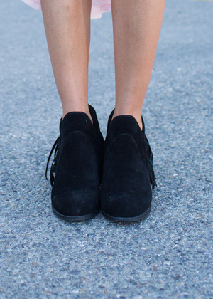 Short Black Fringed Booties CLEARANCE