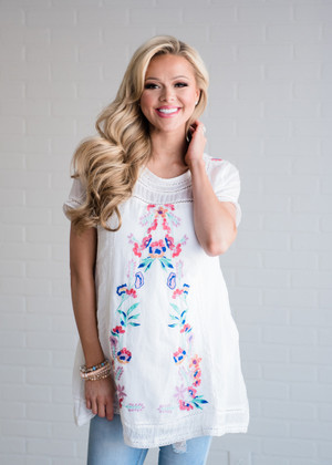 Embroidered Perfectly Tunic/Dress White