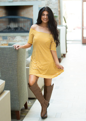 Talk of the Town Striped Dress Mustard