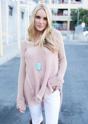 You and I Knit Peek-a-Boo Shoulder Sweater Top Dark Blush