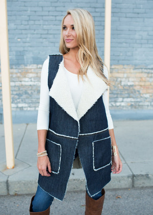 Denim Fur Days Vest CLEARANCE