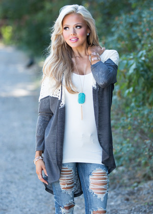 Stay a Little Longer High Low Cardigan Charcoal