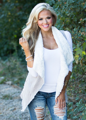 Everything's Waiting For You Fur Vest Gray CLEARANCE