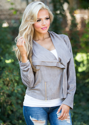 Taupe Suede Zipper Jacket
