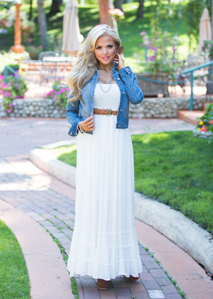 A Little More You White Ruffle Maxi