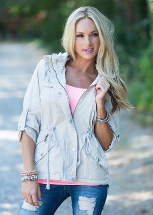 3/4 Sleeve Military Style Hooded Jacket Khaki CLEARANCE