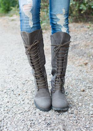 Gray Tie Combat Boots
