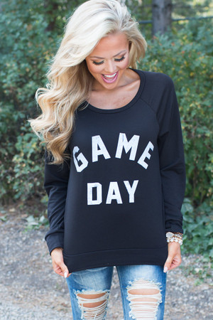 Game Day Sweatshirt Top Black CLEARANCE
