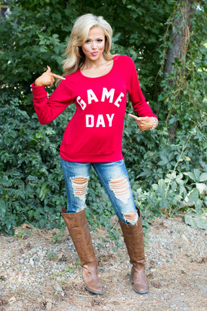 Game Day Sweatshirt Top Red CLEARANCE