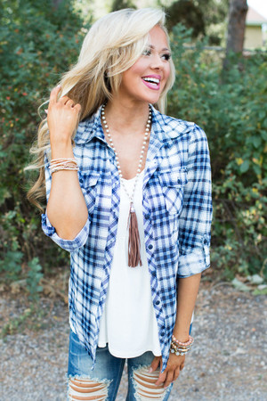 It's The Simple Things Plaid Top Blue CLEARANCE