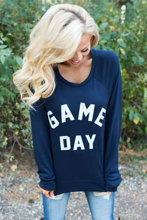 Game Day Sweatshirt Top Navy Blue CLEARANCE