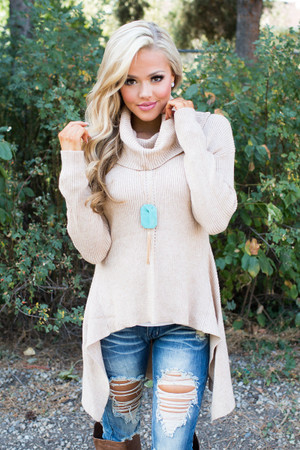 You Make Me Weak in the Knees Cowl Neck Knit Sweater