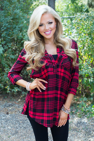 Filled With Blessings Plaid Tunic Red CLEARANCE
